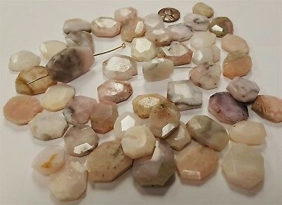 12 Vintage Genuine Natural Agate Stone Assorted Flat Facet Geometric Beads 2337