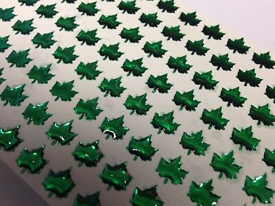 96 x Self Adhesive Green Maple Leaf Gems Stickers Card Craft 7mm x 7mm