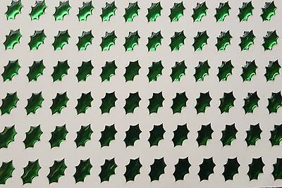 196 ! Self Adhesive Green Holly Leaf Gems Stickers for D I Y Card Craft  5mmx7mm