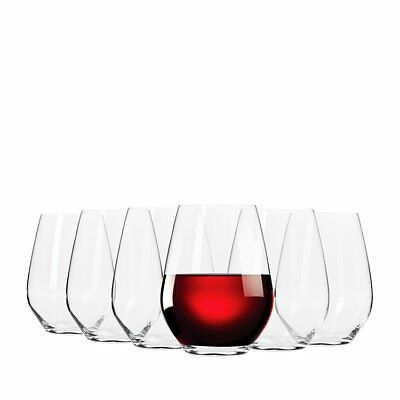 NEW Krosno Flair Stemless Red Wine Glass 550ml Set of 6 (RRP $40)