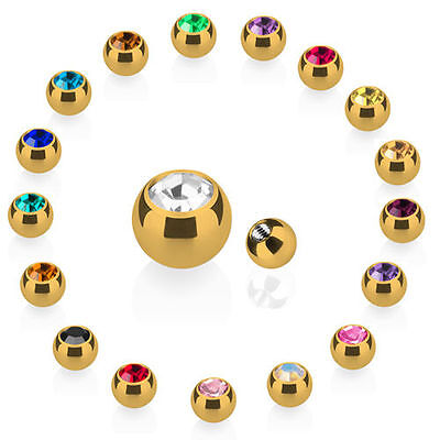 Piercing Screw-Ball Spare Locking ball Stainless Steel Gold ball with crystal