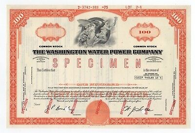 SPECIMEN - The Washington Water Power Company Stock Certificate