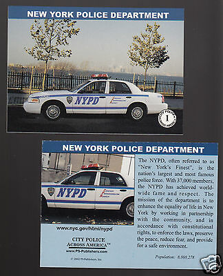 NEW YORK POLICE POLICE DEPARTMENT NYPD Ford City Squad Patrol Car 2002 CARD