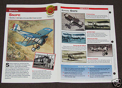 SOPWITH SNIPE Airplane Photo Spec Sheet Booklet Brochure