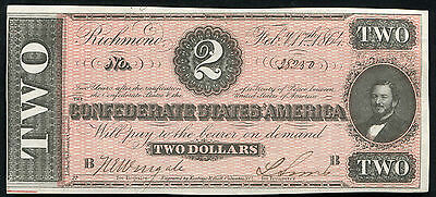 T-70 1864 $2 Two Dollars Csa Confederate States Of America Uncirculated