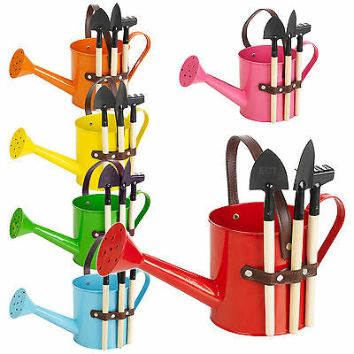 Metal Watering Can Garden Flower Plant Pot Bucket & 3 Gardening Tools Gift Set