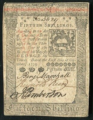 PA-168 PENNSYLVANIA OCTOBER 1, 1773 15s FIFTEEN SHILLINGS COLONIAL CURRENCY NOTE