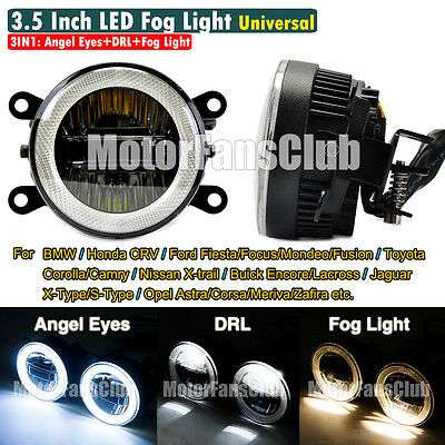 "Coppia Universale 3.5"" 3IN1 LED Angel Eyes + DRL + Fendinebbia Luci Lampada"