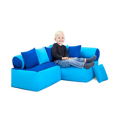 Blue & Turquoise Children's Reading Corner Soft Play Nursery Seating Kids Sofa
