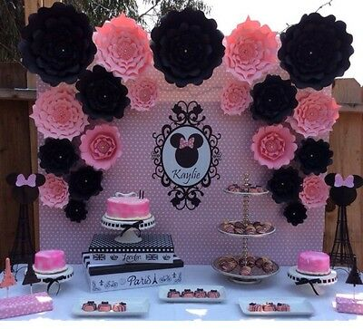 Large Paper Flowers Minnie Mouse Photo Backdrop Flower Wall Paper Flowers