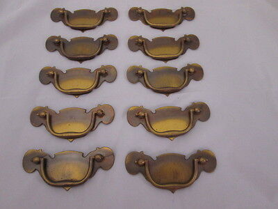 Antiqued Brass Vintage Drawer Pulls Set of 10 Pulls