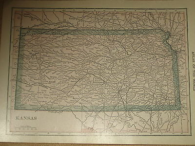 1916 Vintage  MAP KANSAS / NEBRASKA    FREE SHIPPING