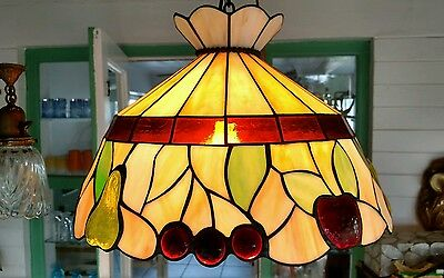 Vintage Mid-Century Stained Glass Multi-Colored Hanging Lamp W/cap