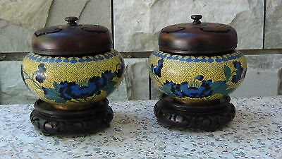 Pair Antique Chinese Very Old Cloisonne Bowls With Wood Covers And Stands
