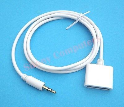 New AUX 3.5mm Male to 30Pin Female for iPod iPhone iPad Dock Adapter Cable White