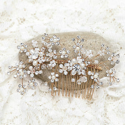 Gold Tone Pearl Flower Rhinestone Crystal Wedding Bridal Hair Comb Headpiece