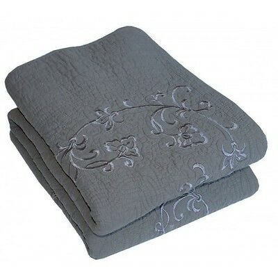 Shabby Chic Charcoal Grey Throw Blanket Rug French Country Marcella