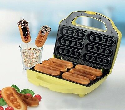 Party Waffeleisen Waffeln am Stiel 6 Waffelsticks Corn Dogs Automat gelb 700W