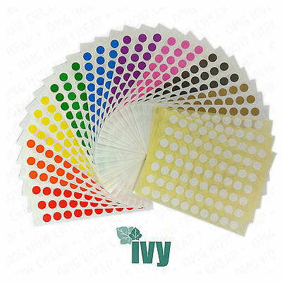 2,100 Sticky Coloured 8mm Labels Dots Circles Self Adhesive [Ten Colours] 232755