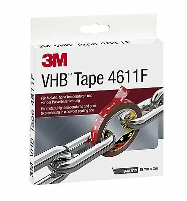 3M 4611F VHB Tape; 1mm x 19mm x 3m Short Length Roll