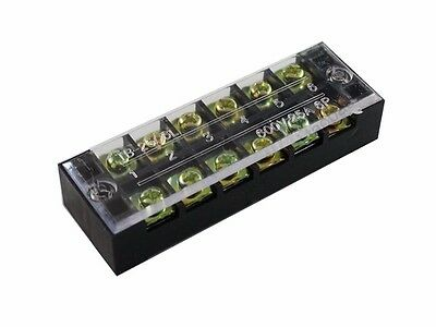 6 Position Screw Barrier Strip Terminal Block w/ Cover 25A
