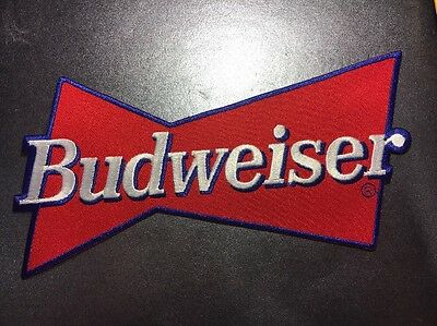 "Budweiser Beer Red Bowtie Embroidered Patch Bud Anheuser-Busch 4.5"" X 8.5"""