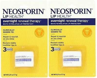2 Pack Neosporin Lip Health Overnight Renewal Therapy 0.27 oz Each