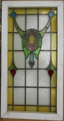 "LARGE OLD ENGLISH LEADED STAINED GLASS WINDOW Pretty Bordered Swag 21"" x 39.75"""