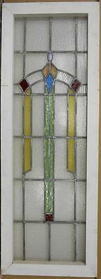 """LARGE OLD ENGLISH LEADED STAINED GLASS WINDOW Pretty Geometric Drop 16"""" x 44.5"""""""