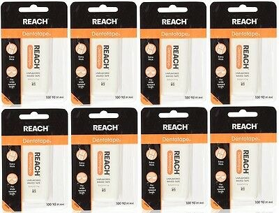8 PACK Reach Dentotape Unflavored Extra Thick Waxed Tape 100 Yards. Dental Floss