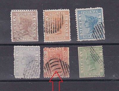 sierra leon pre-1900 six stamps,used               a591
