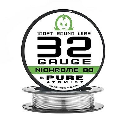 100ft - Nichrome 80 32 Gauge AWG Round Wire Roll - 0.20mm 32g 100' Spool N80