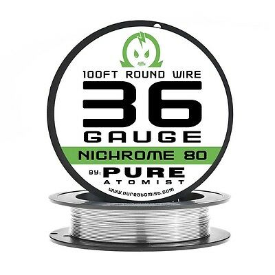 100ft - Nichrome 80 36 Gauge AWG Round Wire Roll - 0.127mm 36g 100' Spool N80
