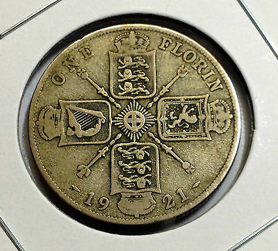 Great Britain 1921 Silver Better Grade One Florin Two Shillings  Coin