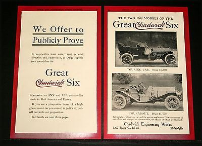 1907 Old Magazine Print Ad, Great Chadwick Six, 2 1908 Models, Superior To Any!