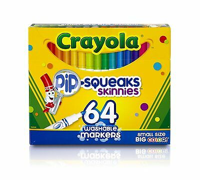 Crayola Pip-Squeaks Skinnies Washable Markers, 64 count, Great [58-8764] 1 Pack
