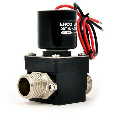 """1/2"""" Magnetically Latching Solenoid Valve 4.5 to 9 VDC Water etc. DDT-ML-4.5VDC"""