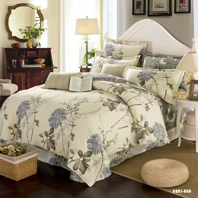 Floral Duvet Doona Quilt Cover Set Double/Queen/King Size Bed Covers 100%Cotton