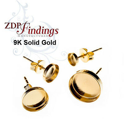 9k Yellow Gold Solid Earring Base with Bezel earbacks included Choose your Size
