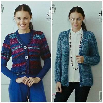 KNITTING PATTERN Ladies Short or Long Sleeve Cable Cardigan Super Chunky KC 4356