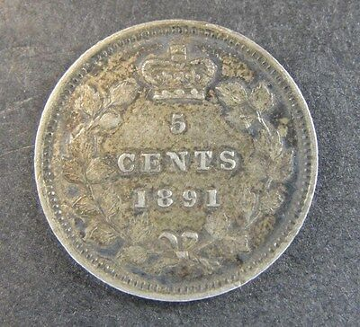 1891 Canada Silver 5 Cent Nickel * LOOKS VF *