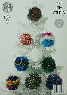 KNITTING PATTERN Tinsel Christmas Tree Baubles TinselChunky KNITTINGPATTERN 9035