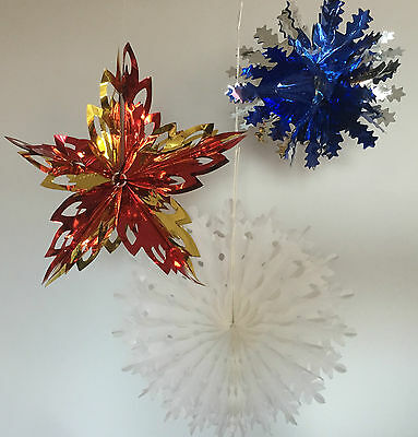 Christmas Hanging Ceiling Decoration-Paper Foil Snowflakes Garland Star Gold Red