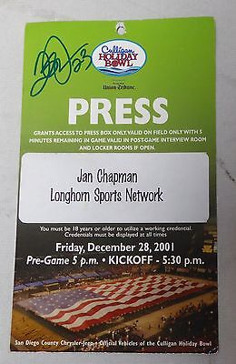 Quentin Jammer Signed 2001 Holiday Bowl Game Press Pass Texas Longhorns UT Auto