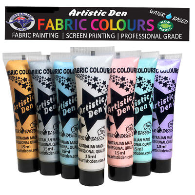 Fabric Paint Metallic Fabric Printing  Textile Paint  7 x 15ml  By Artistic Den