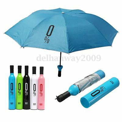 Compact Automatic Fashion Wine Bottle Folding Anti-UV Parasol Sun Rain Umbrella