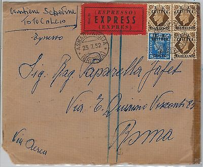 B.A. ERITREA postal history: SG # 23 *3 + 28 on EXPRESS AIRMAIL COVER 1952