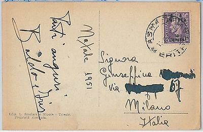 B.A. ERITREA postal history: 30 cents on POSTCARD from ASMARA to ITALY - 1951