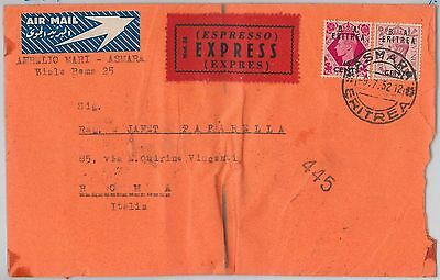 B.A. ERITREA postal history: SG # 20 + 21 on EXPRESS COVER  to ITALY  1952