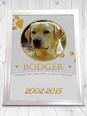 Pet Dog Cat Memorial Remembrance Personalised Print A4 Grave Loved Lost Gift